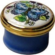 Halcyon Days Mini Enamel Box with Blue Butterfly