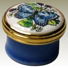 Halcyon Days Mini Enamel Box with Blue Butterfly