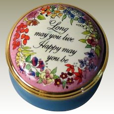 Halcyon Days Enamel Box Long May You Live