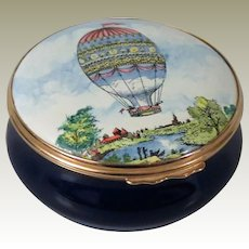 Halcyon Days Bilston & Battersea Montgolfiere Balloon Large Enamel Box