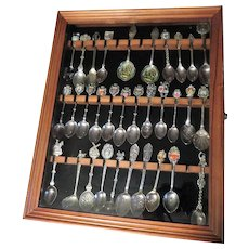 32 Souvenir Spoons Collection with Display Case