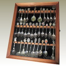 Wooden Display Case with 32 Souvenir Spoons