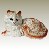 Hubley Cast Iron White and Orange Painted Persian Cat Door Stop