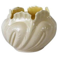 Gorgeous Irish Belleek Bowl with Yellow Luster c 1965-80