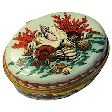 Halcyon Days Enamel Box with Sea Shells and Red Coral
