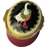 Halcyon Days Enamel Box Goose with a Christmas Wreath Around His Neck for Gump's