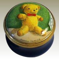 Halcyon Days Teddy Bear Small Enamel Box  by Artist Shireen Faircloth