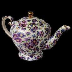 Violet Chintz Arthur Wood & Son English Teapot