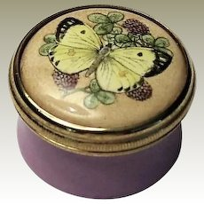 Halcyon Days Mini Enamel Box with Butterfly on Clover - no box