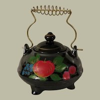Relco Redware Hand Painted Sugar Bowl with Fruit Motif c 1940s-1950s