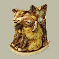 Harmony Kingdom Mutton Chops Small Treasure Jest Box Figurine with Wolf and Sheep