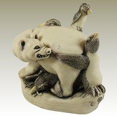 Harmony Kingdom Murphy's Last Stand Small Treasure Jest Box Figurine Polar Bear and Penguins