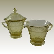 Patrician or Spoke Pattern Depression Glass Covered Sugar and Creamer by Federal Glass