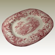 Royal Staffordshire Red Transferware Tonquin Platter by Clarice Cliff
