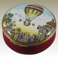 Halcyon Days Bilston & Battersea Sadler Hot Air Balloon Large Enamel Box
