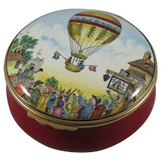 Halcyon Days Bilston & Battersea Sadler Hot Air Balloon Large Enamel Box