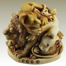 Harmony Kingdom Faux Paw Treasure Jest Box Figurine with Lions and an Antelope