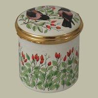Bilston & Battersea Halcyon Days Birds and Flowers Tall Enamel Box
