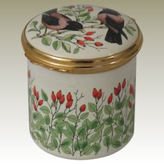 Bilston & Battersea Halcyon Days Birds and Flowers Tall Enamel Box