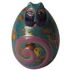 Laurel Burch Fishy Feline Egg Shaped Cat Figurine by Franklin Mint