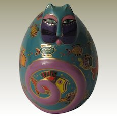 Laurel Burch Fishy Feline Egg Shaped Cat Figurine by Franklin Mint