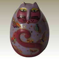 Laurel Burch Floating Feline Egg Shaped Cat Figurine by Franklin Mint