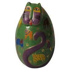 Laurel Burch Canine Kitty Egg Shaped Cat Figurine by Franklin Mint