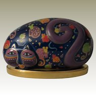 Laurel Burch Reclining Cat and Mouse Rock Shaped Cat Figurine by Franklin Mint with Stand