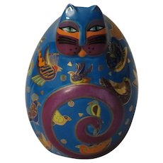 Laurel Burch Fluttering Feline Egg Shaped Cat Figurine by Franklin Mint