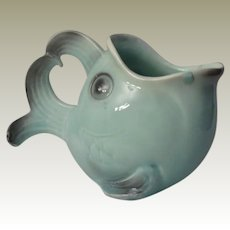 Large Aqua Blue Fish Creamer or Milk Pitcher from Germany