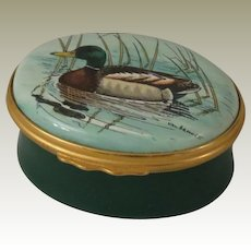 Halcyon Days Oval Enamel Box  with Val Bennett's Mallard Duck