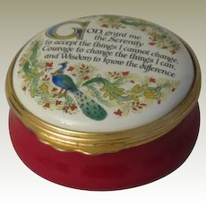 Halcyon Days Serenity Prayer Enamel Box  Commissioned by The Horchow Collection