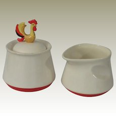 Holt Howard Coq Rouge Red Rooster Sugar and Creamer Set
