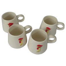 Holt Howard Coq Rouge Red Rooster Set of 4 Coffee Cups