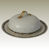 H & C Heinrich & Co Selb Bavaria Floral Band Covered Butter Dish