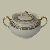 H & C Heinrich & Co Selb Bavaria Floral Band Covered Sugar Bowl