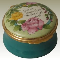 Beautiful Grow Old Along With Me Halcyon Days Enamel Box