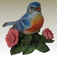 Lenox Porcelain Garden Birds Eastern Bluebird Figurine with Pink Roses