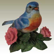 Lenox Porcelain Garden Birds Eastern Bluebird Figurine with Pink Roses