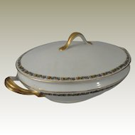 H & C Heinrich & Co Selb Bavaria Floral Band Covered Casserole Serving Dish