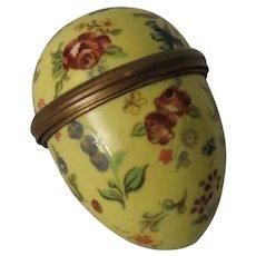 Halcyon Days Bilston & Battersea Large Enamel Egg Shaped Floral Box