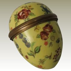 Halcyon Days Bilston & Battersea Large Enamel Egg Shaped Floral Box