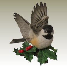 Lenox Porcelain Garden Birds Chickadee Figurine with Holly and Berries