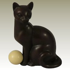 Franklin Mint Art Deco Bronze Curio Cabinet Cat