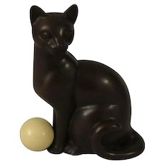 Franklin Mint Art Deco Bronze Curio Cabinet Cat