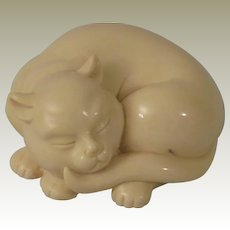 Franklin Mint Netsuke Curio Cabinet Cat