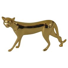 Franklin Mint Art Deco Gold Tone Curio Cabinet Cat