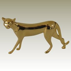 Franklin Mint Art Deco Gold Tone Curio Cabinet Cat