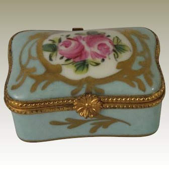 Beautiful Limoges Hand Decorated Blue Trinket Box with Pink Roses and Gold Design