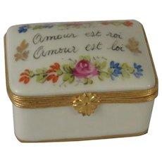 Limoges Hand Painted Amour Est Roi (Love is King) Porcelain Box
